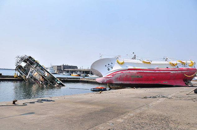 One out of thousands of washes up boats in Onahama